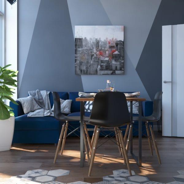 Дизайн-проект кухни прихожей двухуровневой квартиры в современном стиле с элементами лофт