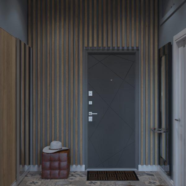 Дизайн-проект прихожей двухуровневой квартиры в современном стиле с элементами лофт