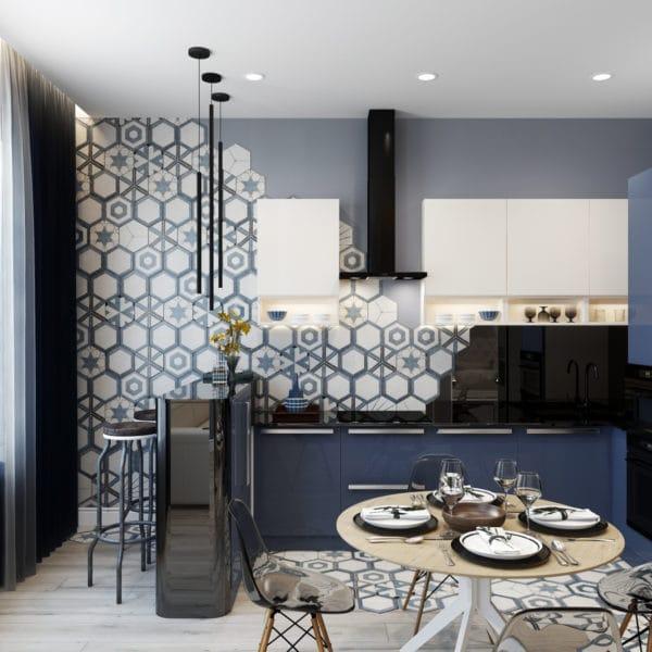 Дизайн-проект квартиры-студии в современном стиле (ЖК Басманный, 5)