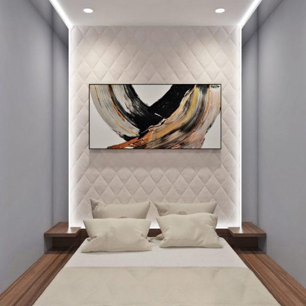 Дизайн-проект спальни квартиры-студии в современном стиле (ЖК Басманный, 5)