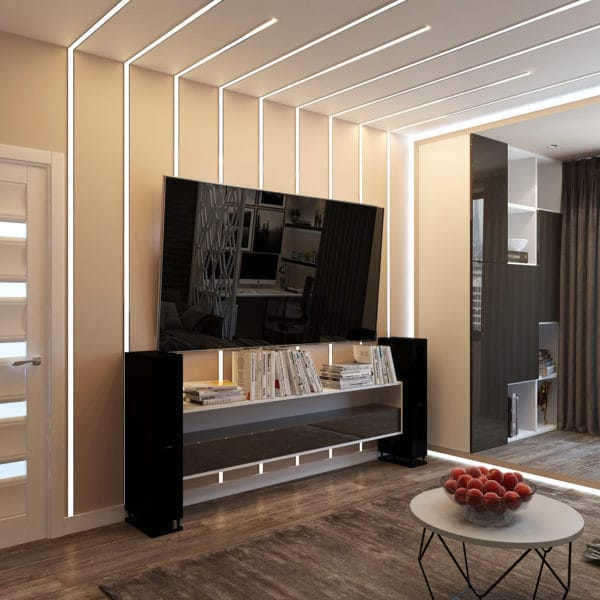 Дизайн-проект гостиной в трехкомнатной квартире в сталинском доме