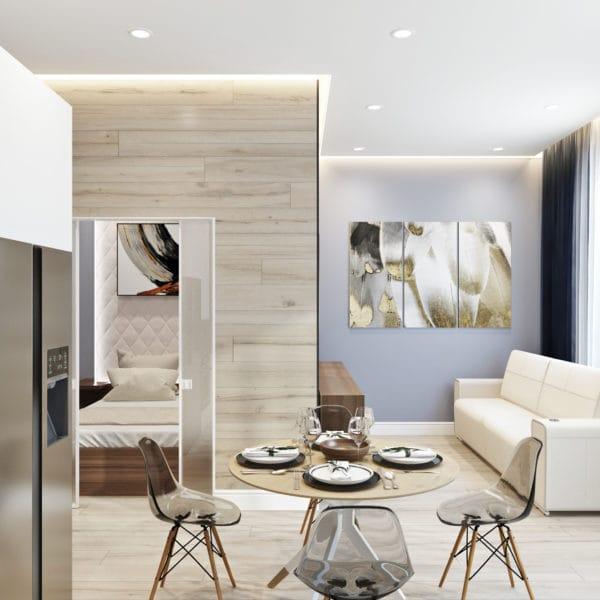 Дизайн-проект кухни квартиры-студии в современном стиле (ЖК Басманный, 5)