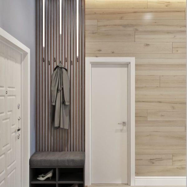 Дизайн-проект прихожей квартиры-студии в современном стиле (ЖК Басманный, 5)