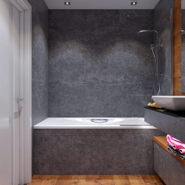 Дизайн-проект ванной прихожей двухуровневой квартиры в современном стиле с элементами лофт