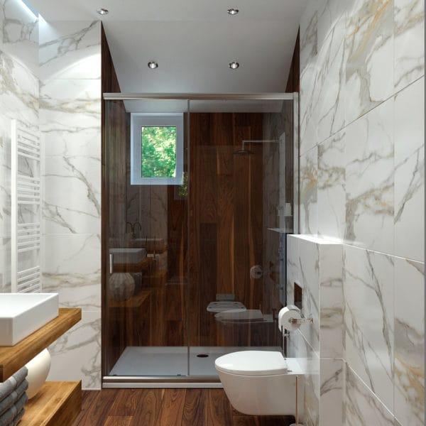 дизайн-проект ванной комнаты в загородном доме