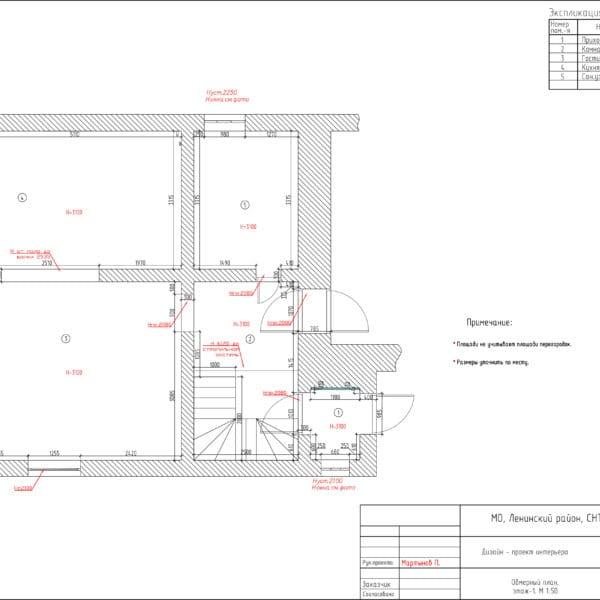 дизайн-проект интерьера 1 этаж