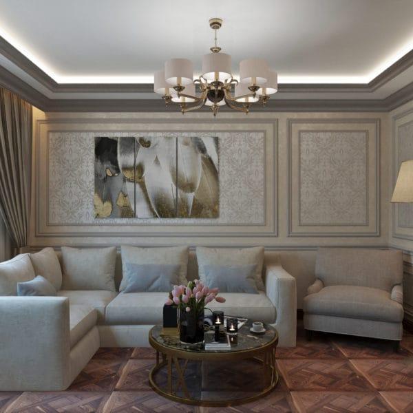 Дизайн квартиры 100 м2 в классическом стиле