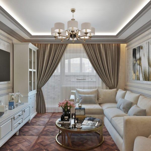 Дизайн-проект квартиры 100 кв.м в классическом стиле