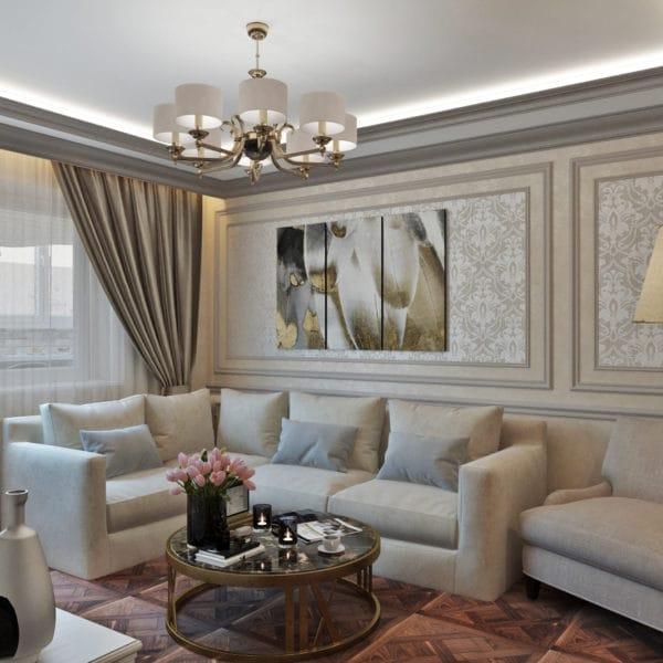 Дизайн зала в классическом стиле