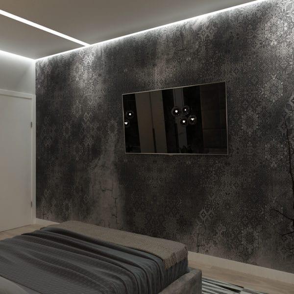 Дизайн спальни в темных тонах