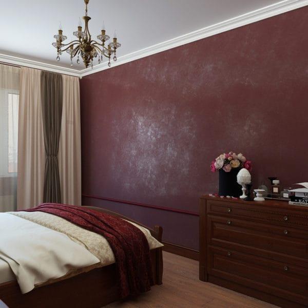 Дизайн спальни в бордовых тонах